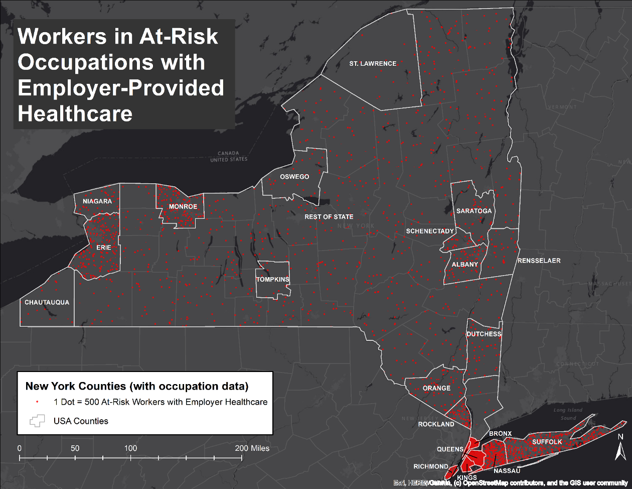 By far, ther are more workers in at risk occupations with employer-provided healthcare in the greater Manhattan area than in upstate locations