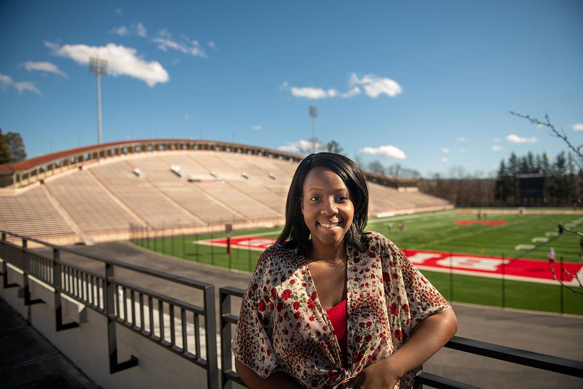 Grace on the Tanner Terrace overlooking Schoellkopf Field.