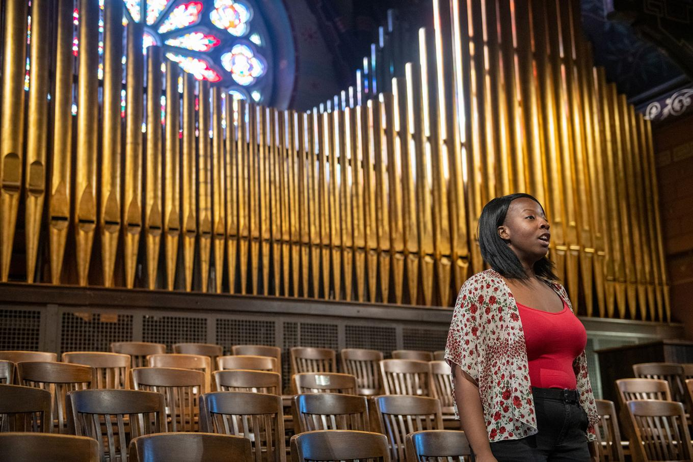 Grace sings in Sage Chapel