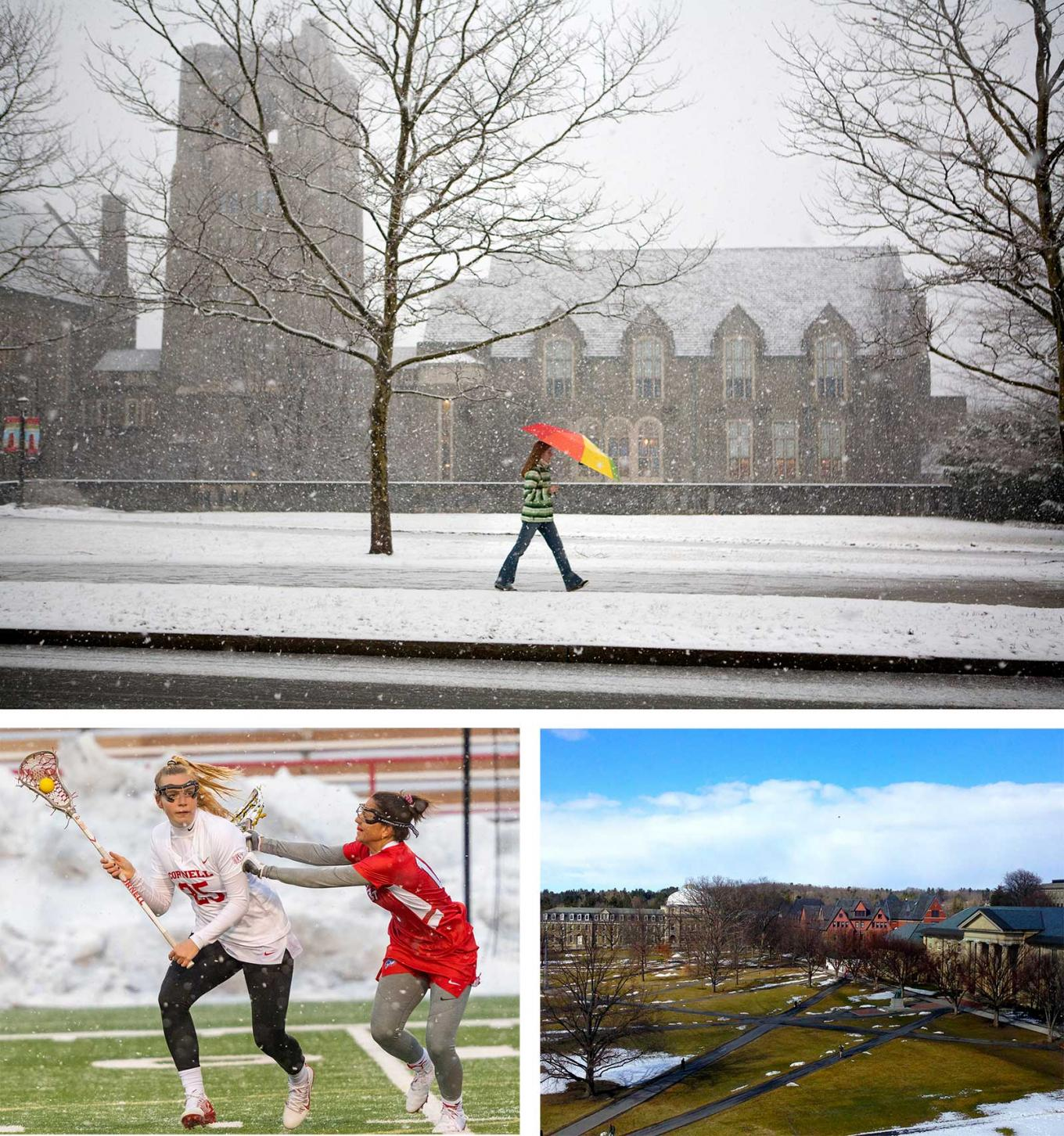 A lone student walks along a snowy quad. Two women play field hokey. An aerial view of the arts quad.