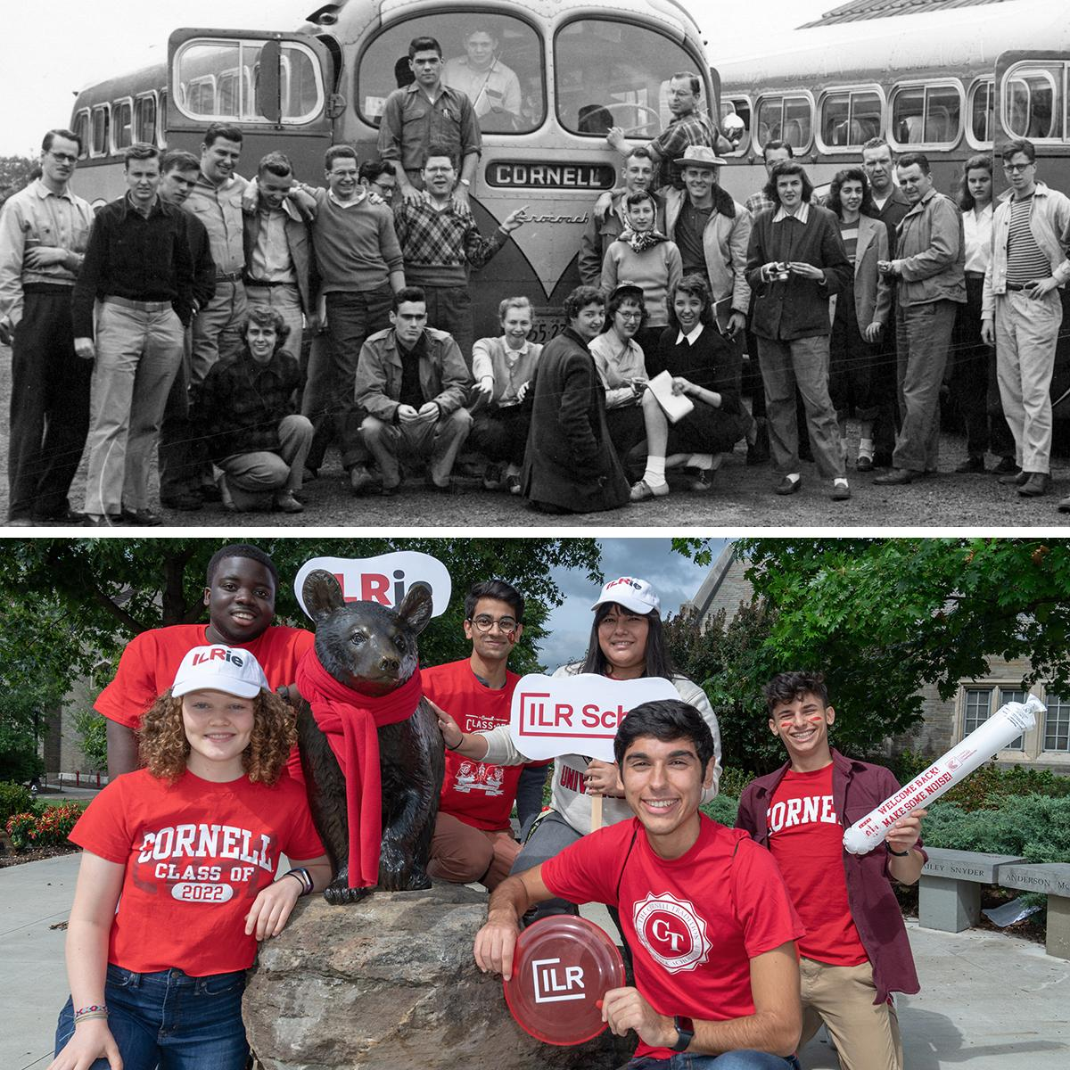 (Top) Students took field trips to factories in New York state and Pennsylvania coal mines; (Bottom) ILR students heading to the Homecoming football game..