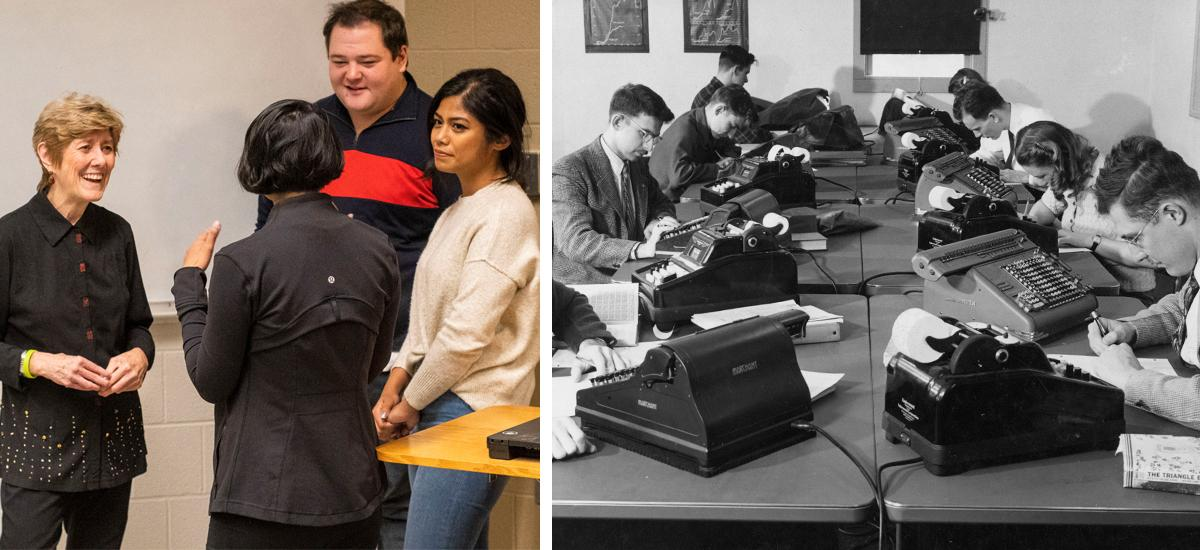 (Left) Rose Batt speaks with students in 2019, (right) Students in a stat class in 1947