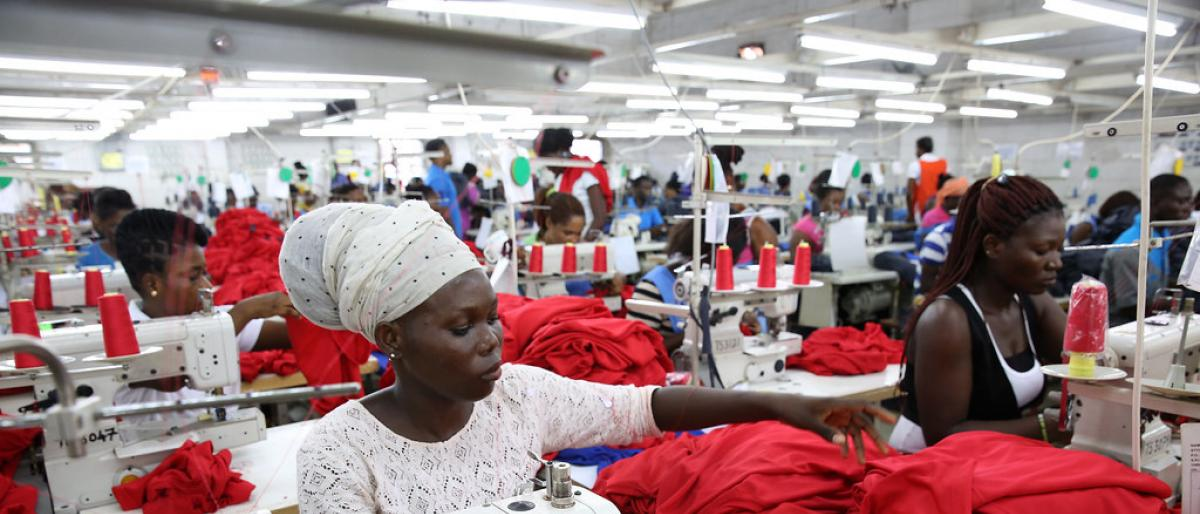 Dignity factory workers producing shirts for overseas clients, in Accra, Ghana
