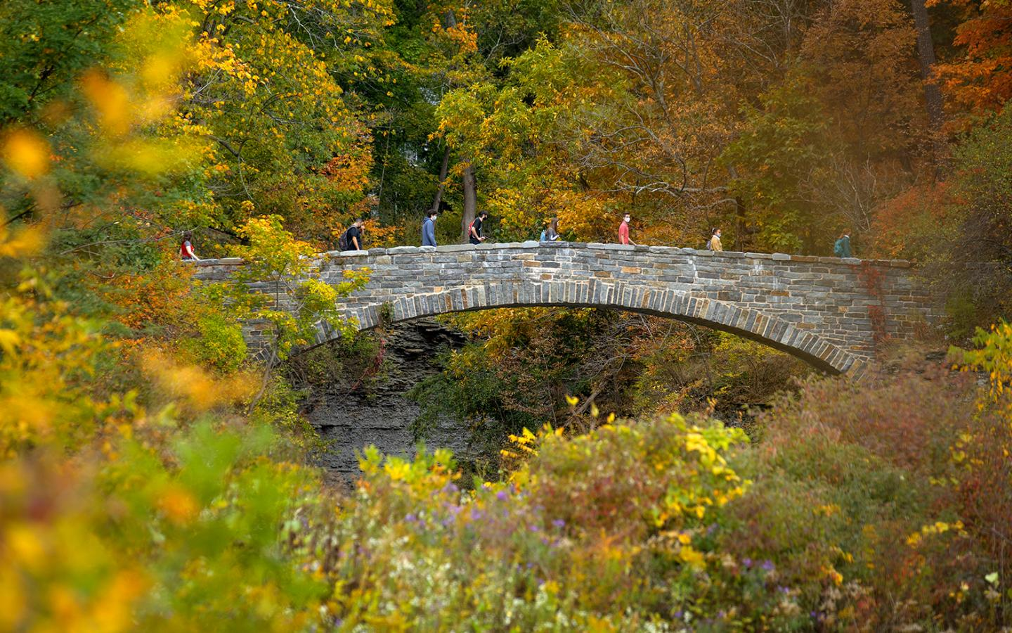 Students cross the foot bridge over Beebe Lake during an afternoon class walk.