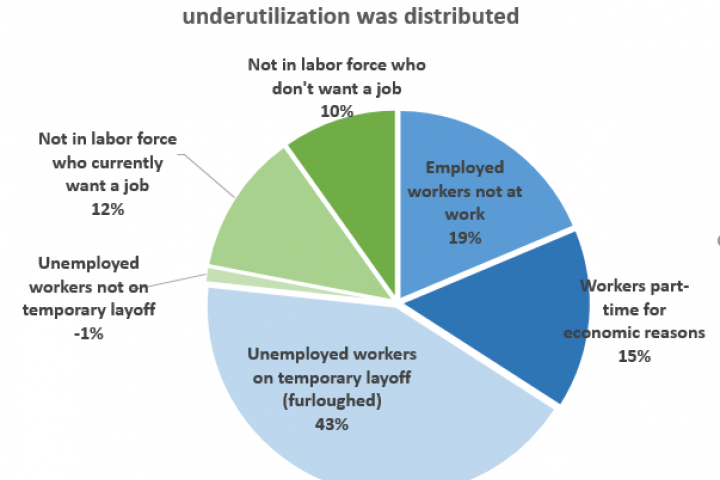 Pie chart illustrating the percentages of labor underutilization