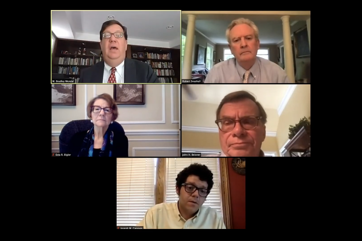 screenshot showing the panelists discussing via videoconferencing