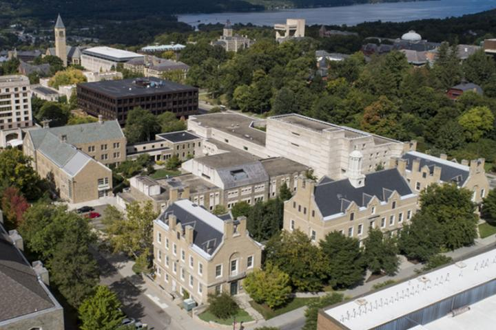 Aerial view of Cornell University ILR School's Ithaca, NY campus