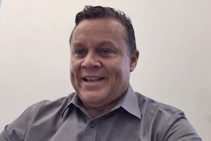 screenshot portrait of Russell Hernandez from a video interview.