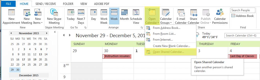 Open Shared Calendar