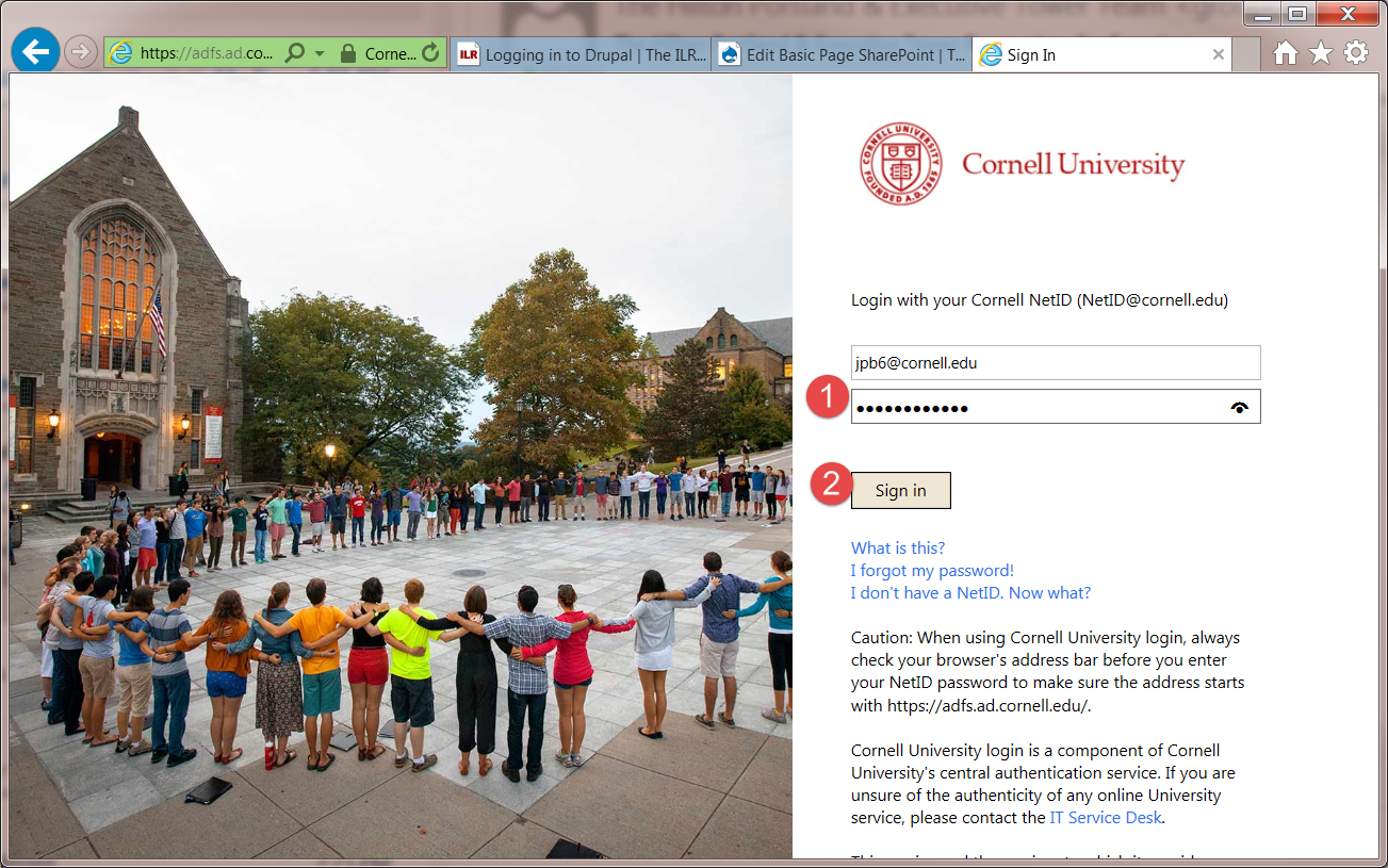 Cornell login page