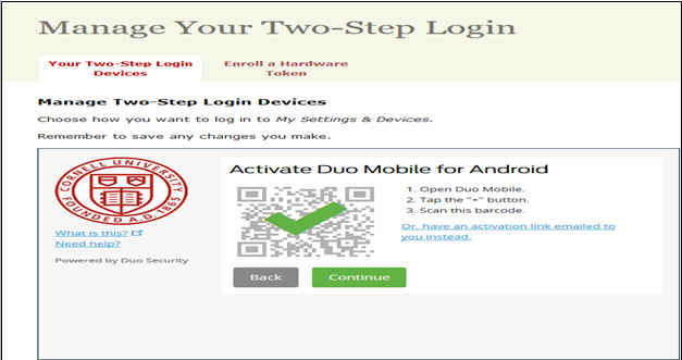 Windows dialog to activate an Android device for two step authentication
