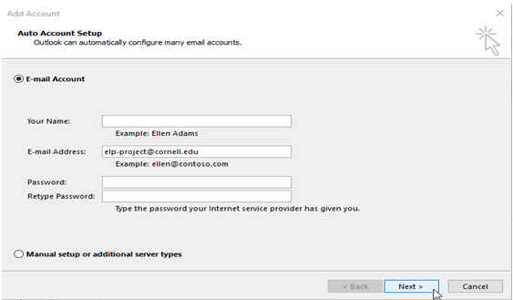 Microsoft Outlook add account dialog