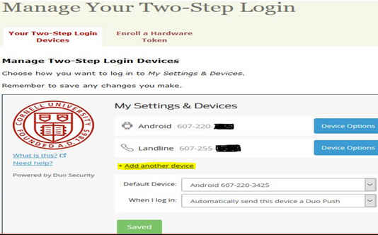 Web site dialog showing what types of devices a user has added for two-step authentication and asking to add another