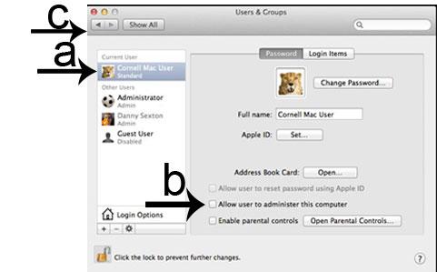 Admin account permissions