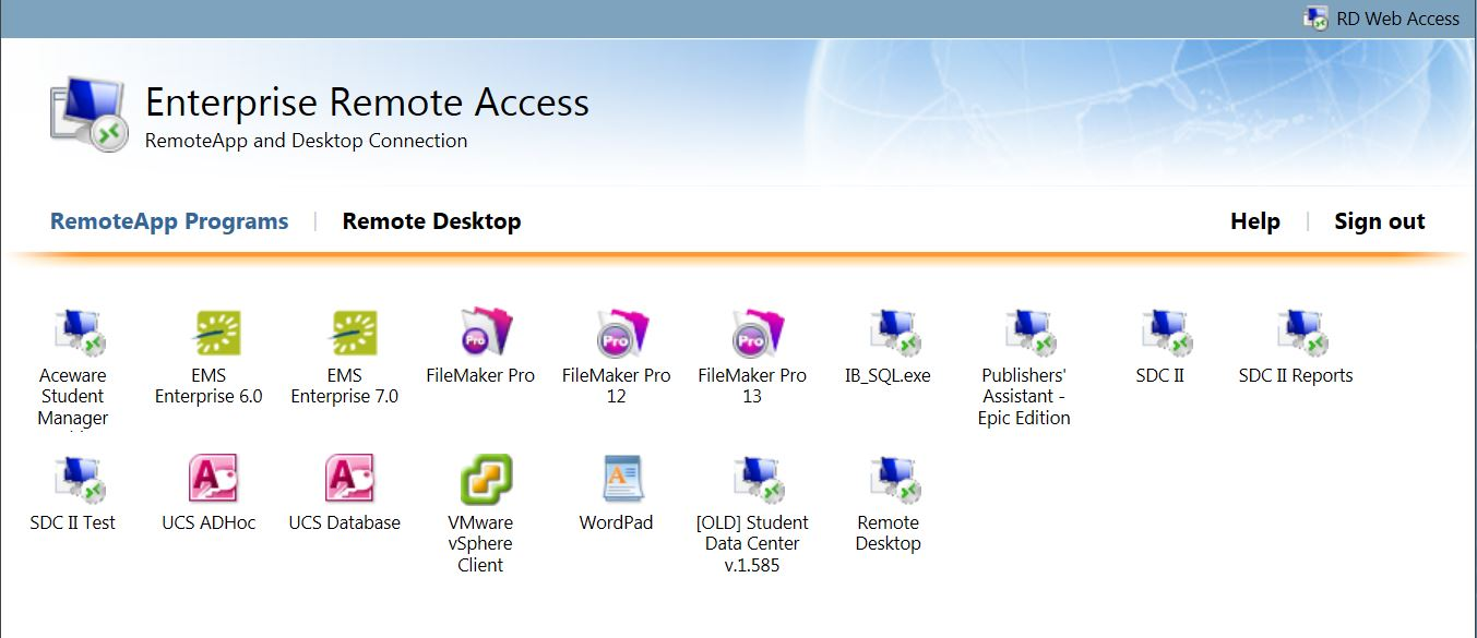 Remote Access available applications