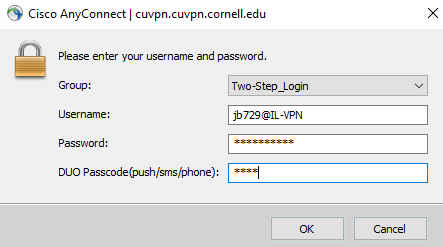 Windows dialog for 2-step authentication to Cornell VPN