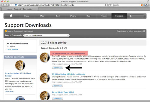 Download update from Apple's web site