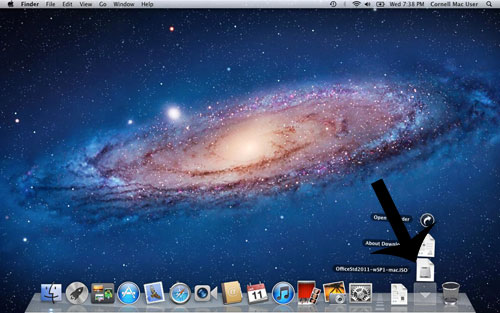 Downloaded installer on dock