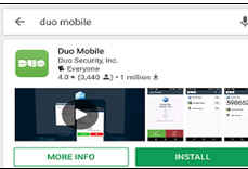 Phone dialog showing installed Duo Mobile app with options to open or uninstall