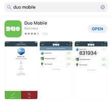 Duo Mobile app pictured in the Apple App store