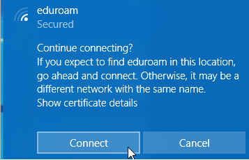 Windows dialog to accept connection to EduRoam network