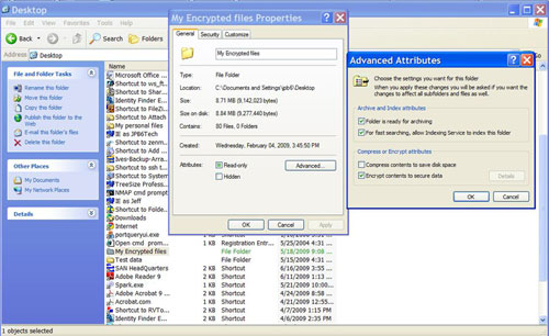 Encrypted files dialog box