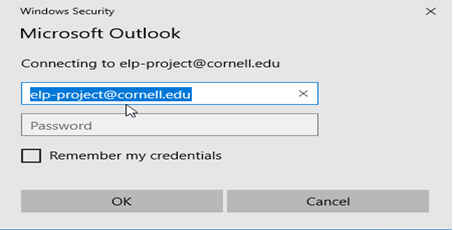 Microsoft Outlook login dialog