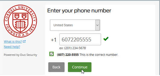 Web site dialog asking the user to enter a phone number they want to use for two-step authenticaiton.