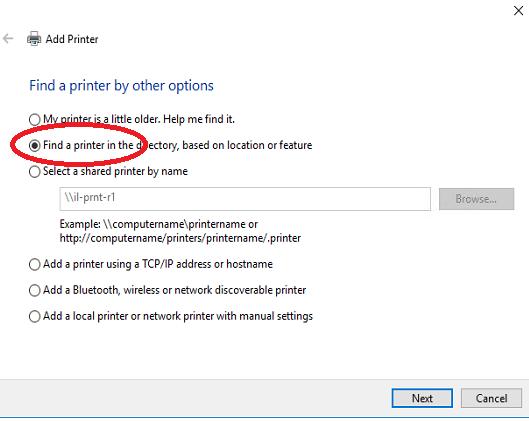 Find a Printer Windows 10