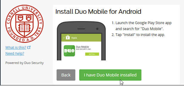 Web site dialog asking to install duo mobile for android