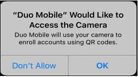 Apple iPhone dialog asking for permission for DuoMobile to access the camera