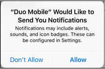 Apple iPhone dialog asking user to allow notifications from Duo Mobile