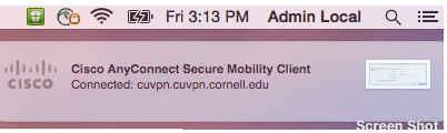 Mac Cisco AnyConnect status message in the menu bar VPN menu