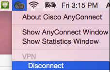 Apple menu bar VPN menu expanded to show the disconnect menu item