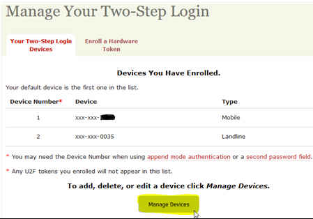Web site dialog showing what types of devices a user has added for two-step authentication.