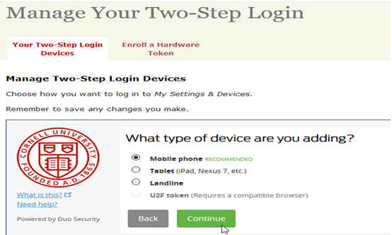 Web site dialog asking what type of device a user is adding for two-step authentication