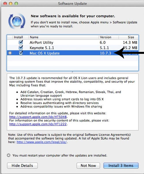 OS X Software Update dialog box