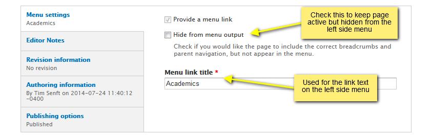 other menu settings
