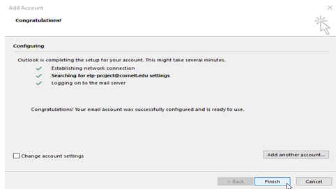 Windows dialog showing successful configuration of Microsoft Office