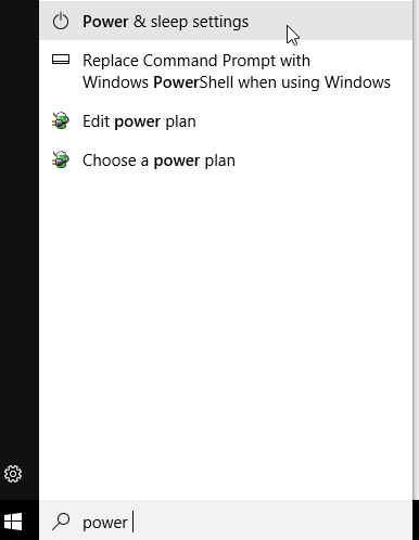 Start menu item for power and sleep settings
