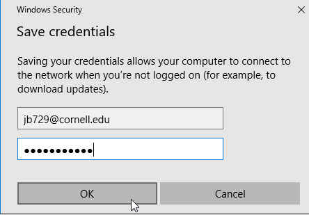 Microsoft Outlook dialog for saving login credentials