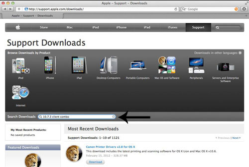 Search downloads on Apple's web site