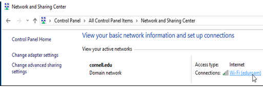 Windows dialog for network and sharing center