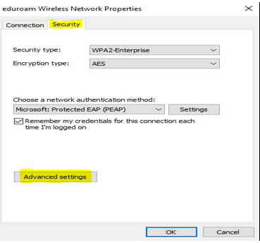 Windows dialog for Eduroam network connecction setting