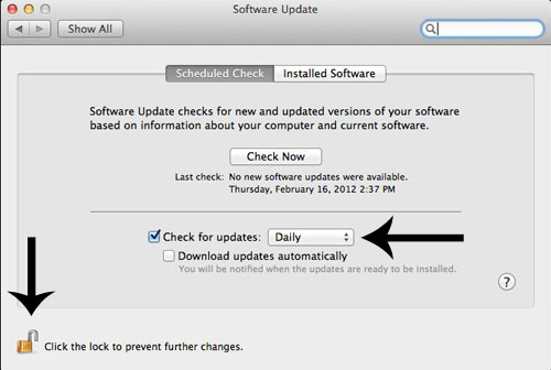 Software Update dialog box