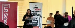 New York State Senator Jessica Ramos speaks at the NYS AFL-CIO/Cornell Union Leadership Institute's annual Change-Makers Awards, May 2019.