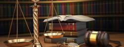 Law books, scales, and a gavel