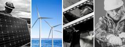 Multiple workers building clean energy