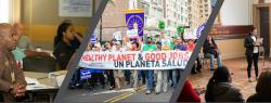 Collage. 3 images of participants attending program talks. One image of a banner reading, Healthy planet and good jobs. Un planeta salud