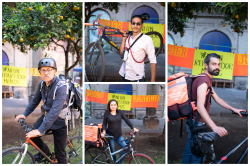 Collage of Argentinian delivery food bikers